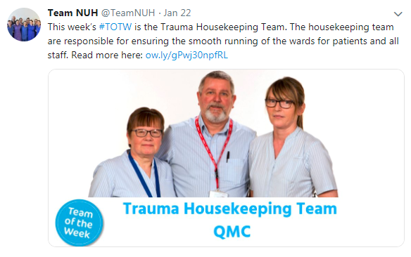 Team of the Week - Trauma Housekeeping Team