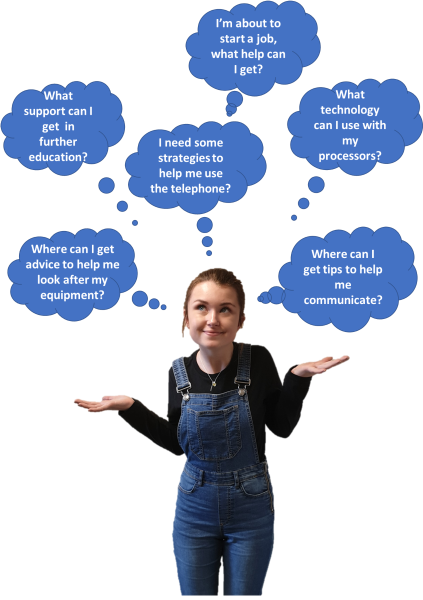 Picture of young person, Lillie. Above her are thought bubbles each of which contain questions about using technology and phones, getting support in further education and jobs and help with communication.