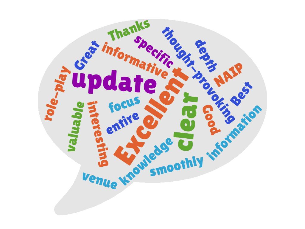 Word cloud showing words taken from feedback: excellent, specific, thought-provoking, interesting, valuable, smoothly, knowledge, great, good, clear, specific, thanks