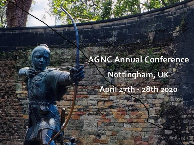 Image of Robin Hood statue in Nottingham City Centre, with text overlaid reading 'AGNC Annual Conference, Nottingham, April 27th - 28th 2020'