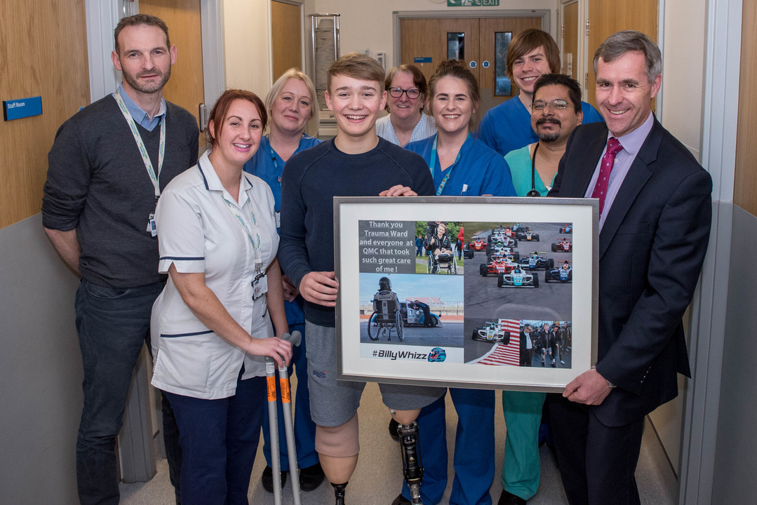 Billy Monger and staff on the ward